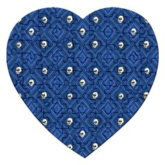 Funny Little Skull Pattern, Blue Jigsaw Puzzle (heart) by MoreColorsinLife
