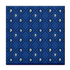 Funny Little Skull Pattern, Blue Face Towel by MoreColorsinLife