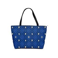 Funny Little Skull Pattern, Blue Shoulder Handbags by MoreColorsinLife