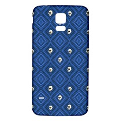 Funny Little Skull Pattern, Blue Samsung Galaxy S5 Back Case (white) by MoreColorsinLife