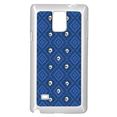 Funny Little Skull Pattern, Blue Samsung Galaxy Note 4 Case (white) by MoreColorsinLife
