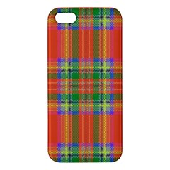 Orange And Green Plaid Apple Iphone 5 Premium Hardshell Case by allthingseveryone