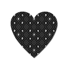 Funny Little Skull Pattern, B&w Heart Magnet by MoreColorsinLife