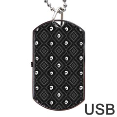 Funny Little Skull Pattern, B&w Dog Tag Usb Flash (one Side) by MoreColorsinLife