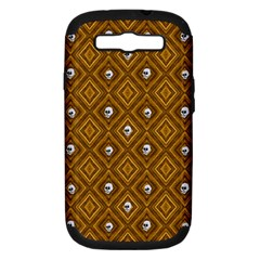 Funny Little Skull Pattern, Golden Samsung Galaxy S Iii Hardshell Case (pc+silicone) by MoreColorsinLife
