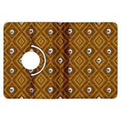 Funny Little Skull Pattern, Golden Kindle Fire Hdx Flip 360 Case by MoreColorsinLife