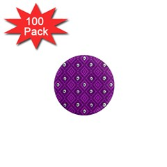 Funny Little Skull Pattern, Purple 1  Mini Magnets (100 Pack)  by MoreColorsinLife