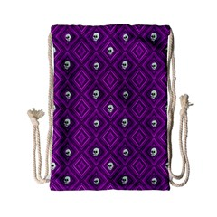 Funny Little Skull Pattern, Purple Drawstring Bag (small) by MoreColorsinLife