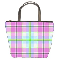 Pink And Blue Plaid Bucket Bags by allthingseveryone