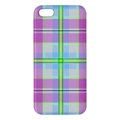 Pink And Blue Plaid Apple Iphone 5 Premium Hardshell Case by allthingseveryone