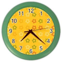 Spray Stars Pattern B Color Wall Clocks by MoreColorsinLife