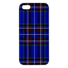Bright Blue Plaid Apple Iphone 5 Premium Hardshell Case by allthingseveryone