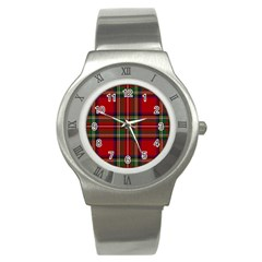 Red Tartan Plaid Stainless Steel Watch by allthingseveryone