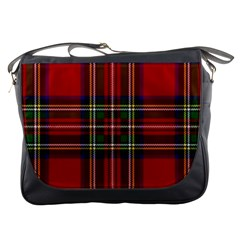 Red Tartan Plaid Messenger Bags by allthingseveryone