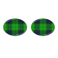 Green And Blue Plaid Cufflinks (oval) by allthingseveryone