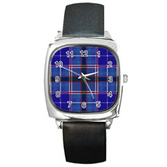 Blue Heather Plaid Square Metal Watch by allthingseveryone