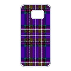 Purple Tartan Plaid Samsung Galaxy S7 Edge White Seamless Case