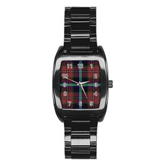 Purple And Red Tartan Plaid Stainless Steel Barrel Watch by allthingseveryone