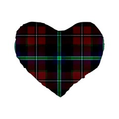 Purple And Red Tartan Plaid Standard 16  Premium Flano Heart Shape Cushions by allthingseveryone