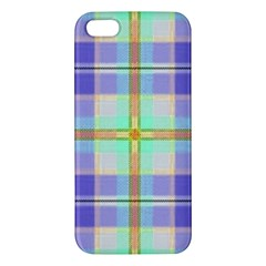 Blue And Yellow Plaid Apple Iphone 5 Premium Hardshell Case by allthingseveryone