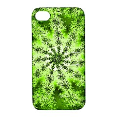 Lime Green Starburst Fractal Apple Iphone 4/4s Hardshell Case With Stand by allthingseveryone