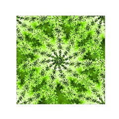 Lime Green Starburst Fractal Small Satin Scarf (square) by allthingseveryone