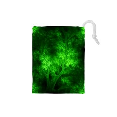 Artsy Bright Green Trees Drawstring Pouches (small)  by allthingseveryone