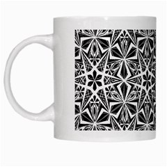 Star With Twelve Rays Pattern Black White White Mugs by Cveti