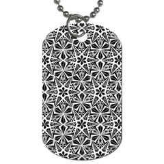Star With Twelve Rays Pattern Black White Dog Tag (two Sides) by Cveti