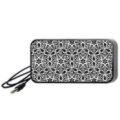 Star With Twelve Rays Pattern Black White Portable Speaker by Cveti