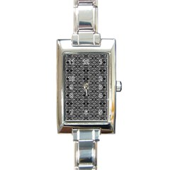 Black And White Ethnic Pattern Rectangle Italian Charm Watch by dflcprints