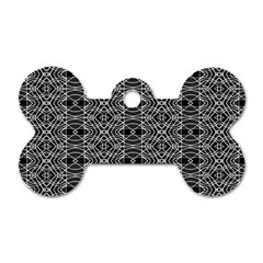 Black And White Ethnic Pattern Dog Tag Bone (one Side) by dflcprints