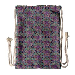 Flower Kaleidoscope Hand Drawing 2 Drawstring Bag (large) by Cveti