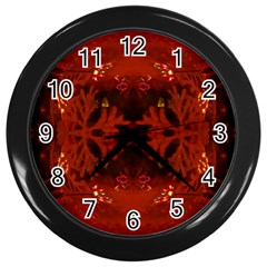 Red Abstract Wall Clocks (black) by Celenk