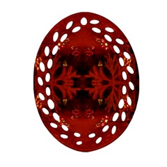 Red Abstract Oval Filigree Ornament (two Sides) by Celenk