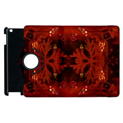 Red Abstract Apple Ipad 2 Flip 360 Case by Celenk