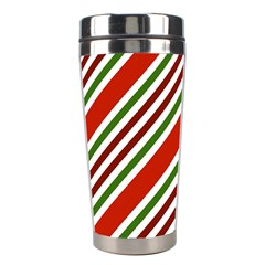 Christmas Color Stripes Stainless Steel Travel Tumblers by Celenk