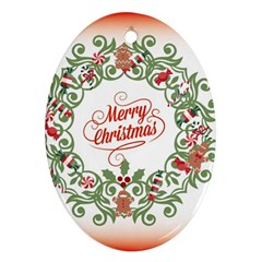 Merry Christmas Wreath Ornament (oval) by Celenk