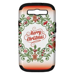 Merry Christmas Wreath Samsung Galaxy S Iii Hardshell Case (pc+silicone) by Celenk