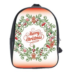 Merry Christmas Wreath School Bag (xl) by Celenk