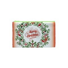 Merry Christmas Wreath Cosmetic Bag (xs) by Celenk