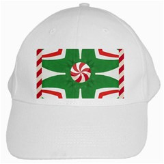 Candy Cane Kaleidoscope White Cap by Celenk