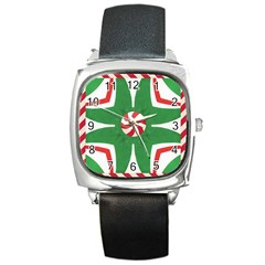 Candy Cane Kaleidoscope Square Metal Watch by Celenk