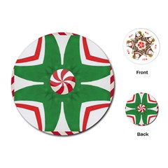 Candy Cane Kaleidoscope Playing Cards (round)  by Celenk