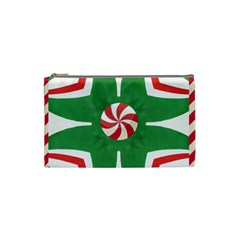Candy Cane Kaleidoscope Cosmetic Bag (small)  by Celenk