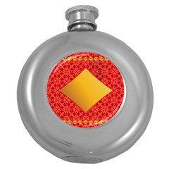 Christmas Card Pattern Background Round Hip Flask (5 Oz) by Celenk