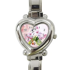 Wonderful Flowers, Soft Colors, Watercolor Heart Italian Charm Watch by FantasyWorld7