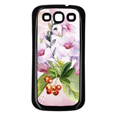 Wonderful Flowers, Soft Colors, Watercolor Samsung Galaxy S3 Back Case (black) by FantasyWorld7