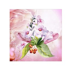 Wonderful Flowers, Soft Colors, Watercolor Small Satin Scarf (square)  by FantasyWorld7