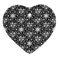 Star Crystal Black White 1 And 2 Ornament (heart) by Cveti